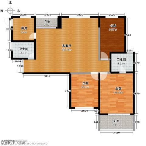 四季风景3室1厅2卫1厨120.00㎡户型图