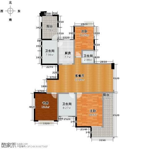 梦琴湾3室1厅3卫1厨140.68㎡户型图