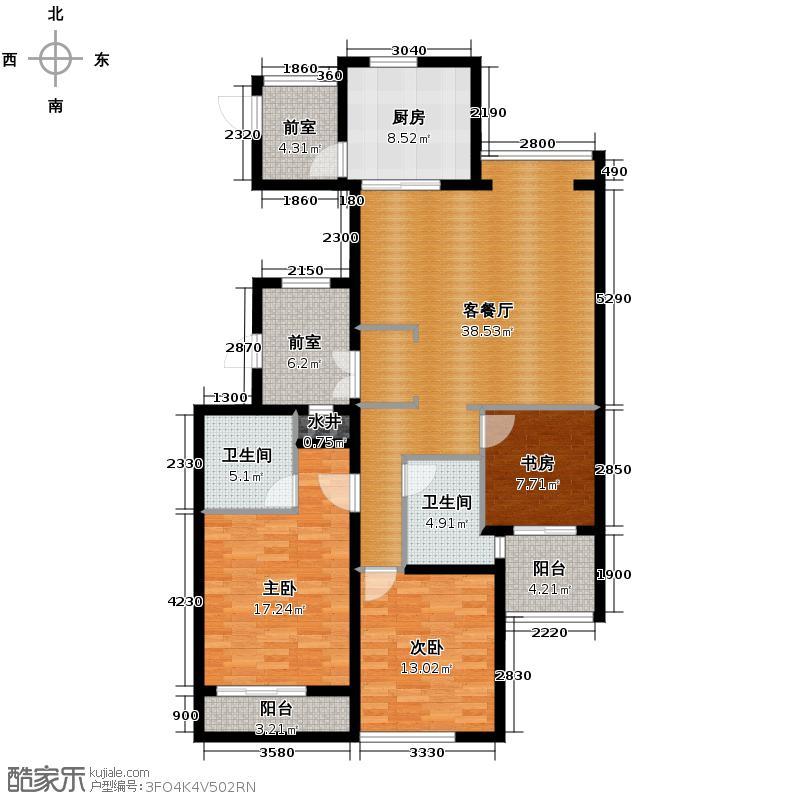 通和府尚公馆138.00㎡B标准层-偶数户型3室1厅2卫1厨