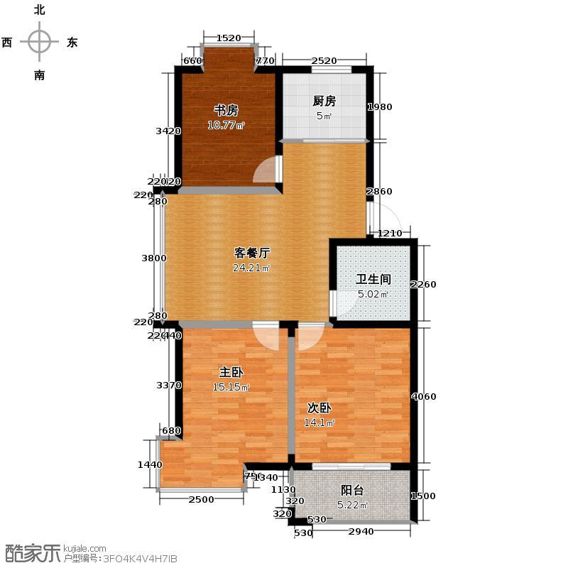金世纪星运丽园88.72㎡24#A5户型3室1厅1卫1厨