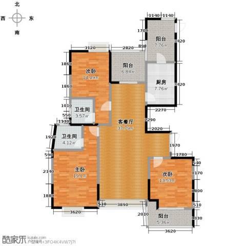 梦琴湾3室1厅2卫1厨133.39㎡户型图