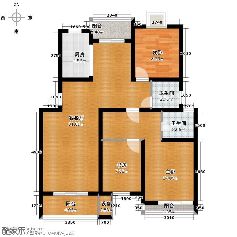 金世纪星运丽园98.04㎡户型3室1厅2卫1厨