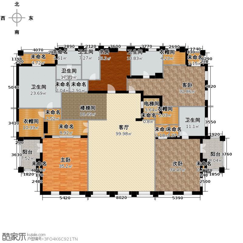 湘湖壹号1380.00㎡A二层户型7室6厅7卫