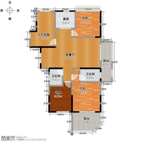 保利东湾3室1厅2卫1厨127.00㎡户型图