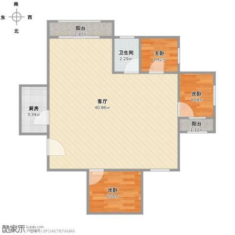 瑞金新苑3室1厅1卫1厨86.00㎡户型图