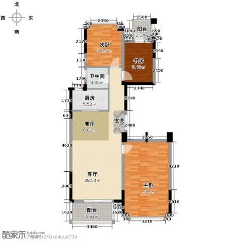 绿城玉兰花园3室1厅1卫1厨137.00㎡户型图