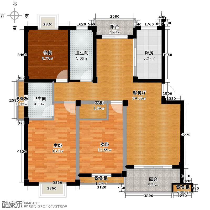 帝凯帝景园121.21㎡B3户型3室1厅2卫1厨
