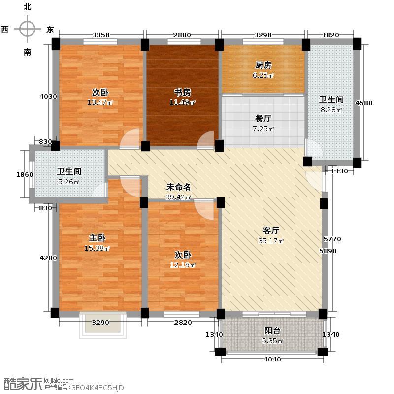 宏河嘉园140.12㎡标准层G户型4室2卫1厨