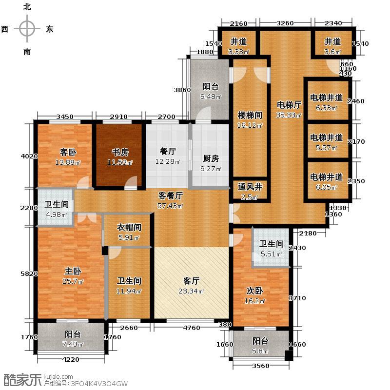 滨江城市之星223.00㎡3号楼L户型4室1厅3卫1厨