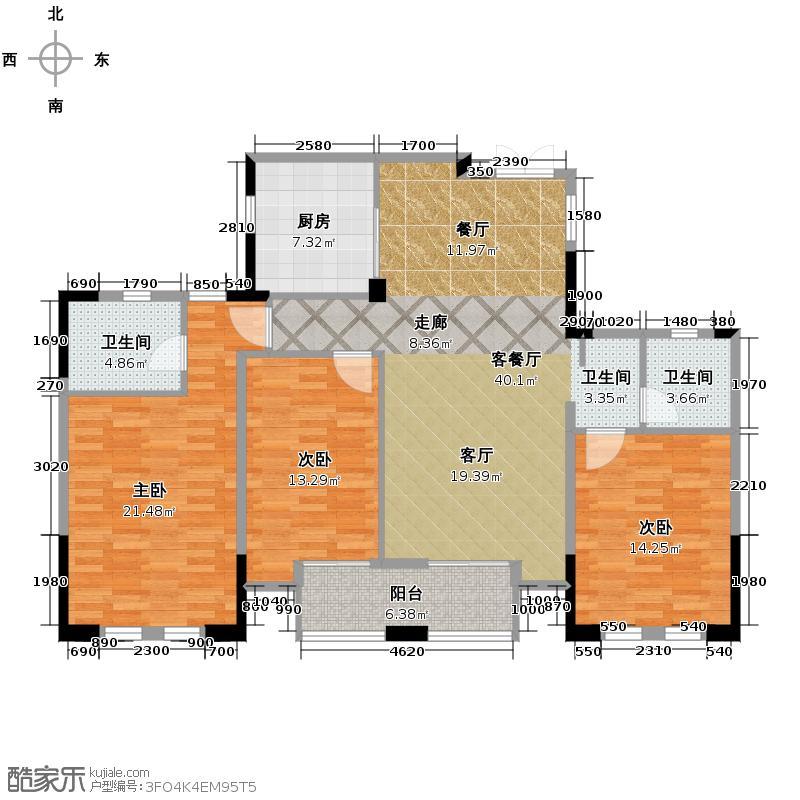 金城华府143.00㎡高层G3户型3室1厅2卫1厨