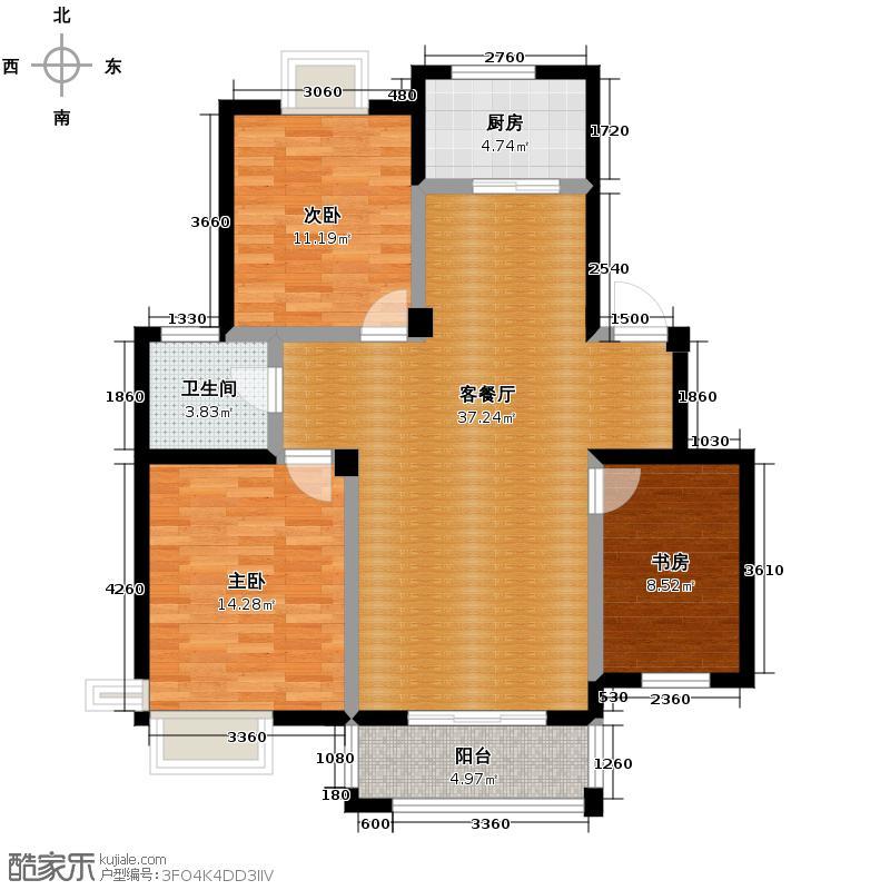 金世纪星运丽园104.06㎡6#-16#B2户型3室1厅1卫1厨