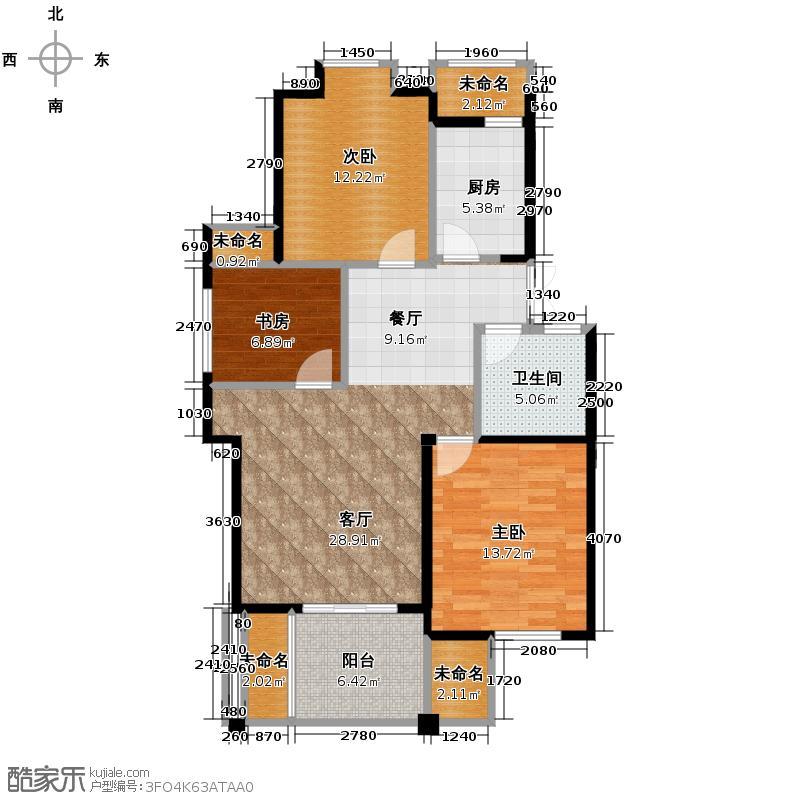 中尚橄榄树花园93.96㎡户型3室1厅1卫1厨