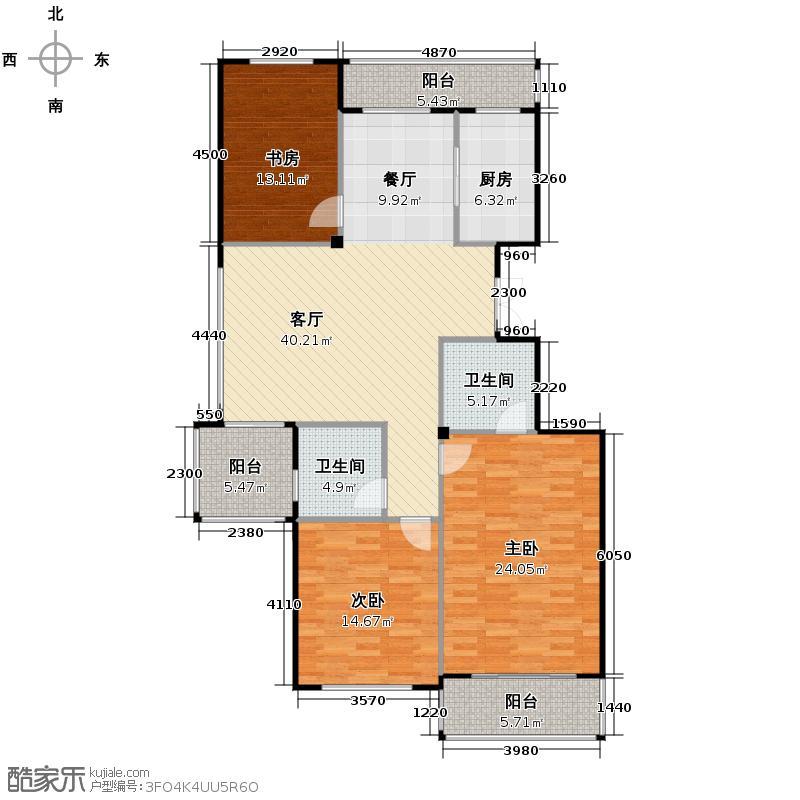 江东阳光名城137.00㎡D1户型3室1厅2卫1厨