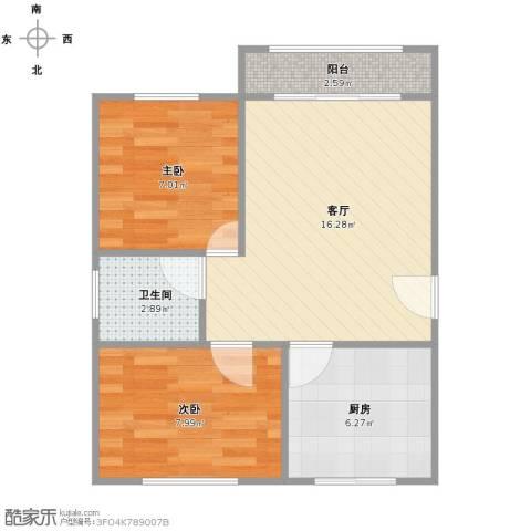 顾村大家园2室1厅1卫1厨59.00㎡户型图