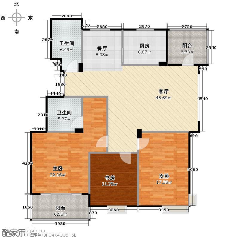 江东阳光名城137.00㎡D2户型3室1厅2卫1厨