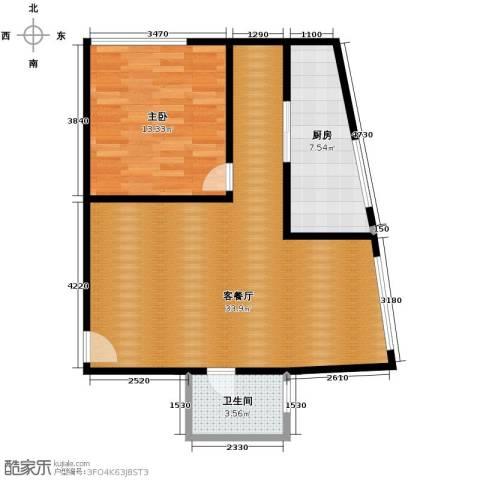新城市广场1室1厅1卫1厨58.33㎡户型图