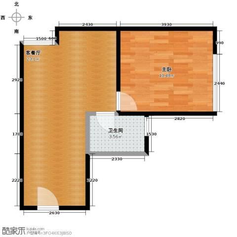 新城市广场1室1厅1卫0厨54.00㎡户型图