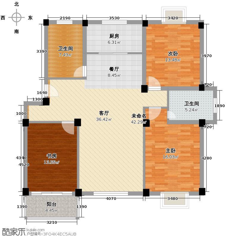 宏河嘉园133.27㎡标准层C户型3室2卫1厨