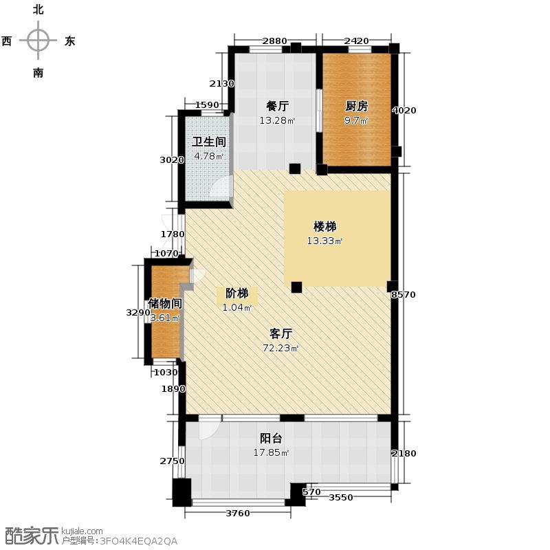 千岛湖滨江度假别墅212.00㎡现代叠排A一层户型1厅1卫1厨