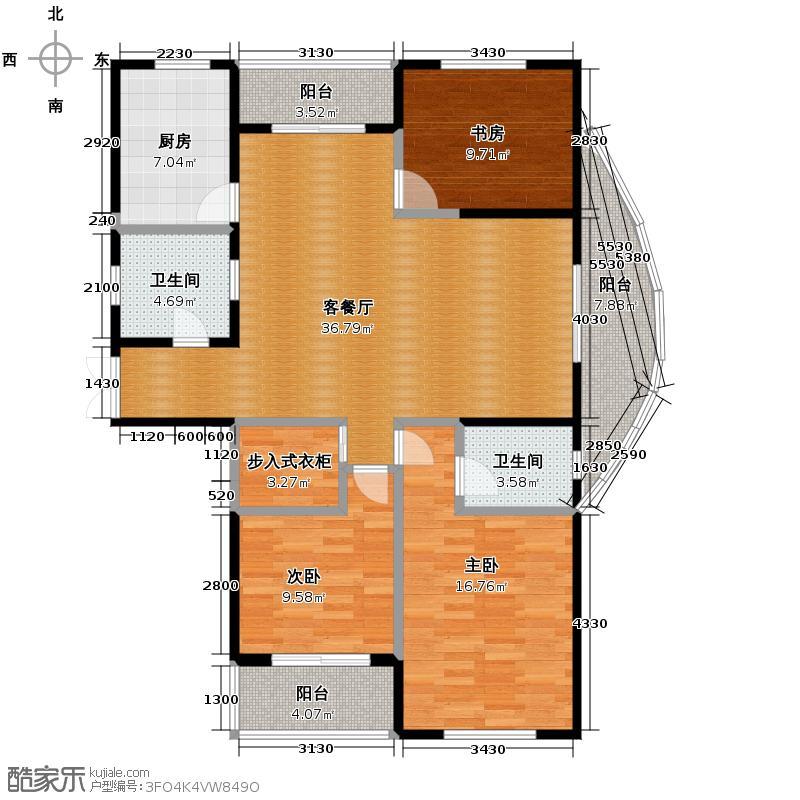 四季风景120.00㎡户型3室1厅2卫1厨