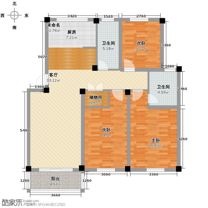 金凌花园111.57㎡户型3室2卫