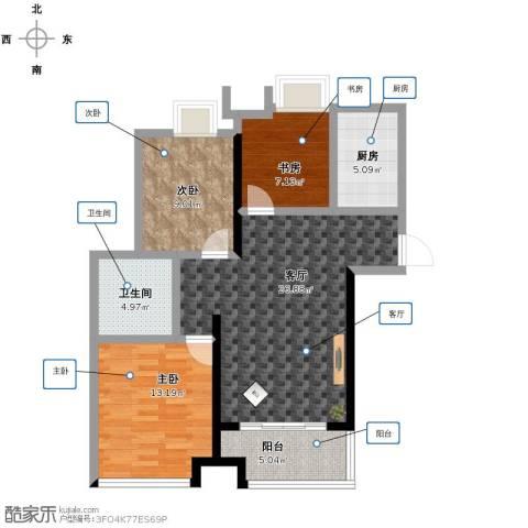 中茵龙湖国际3室1厅1卫1厨104.00㎡户型图