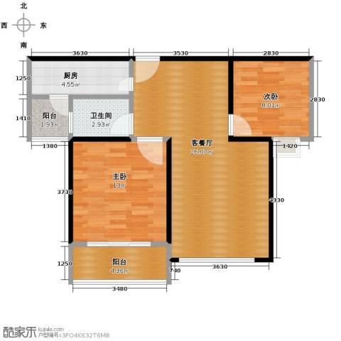 海天公寓2室1厅1卫1厨85.00㎡户型图