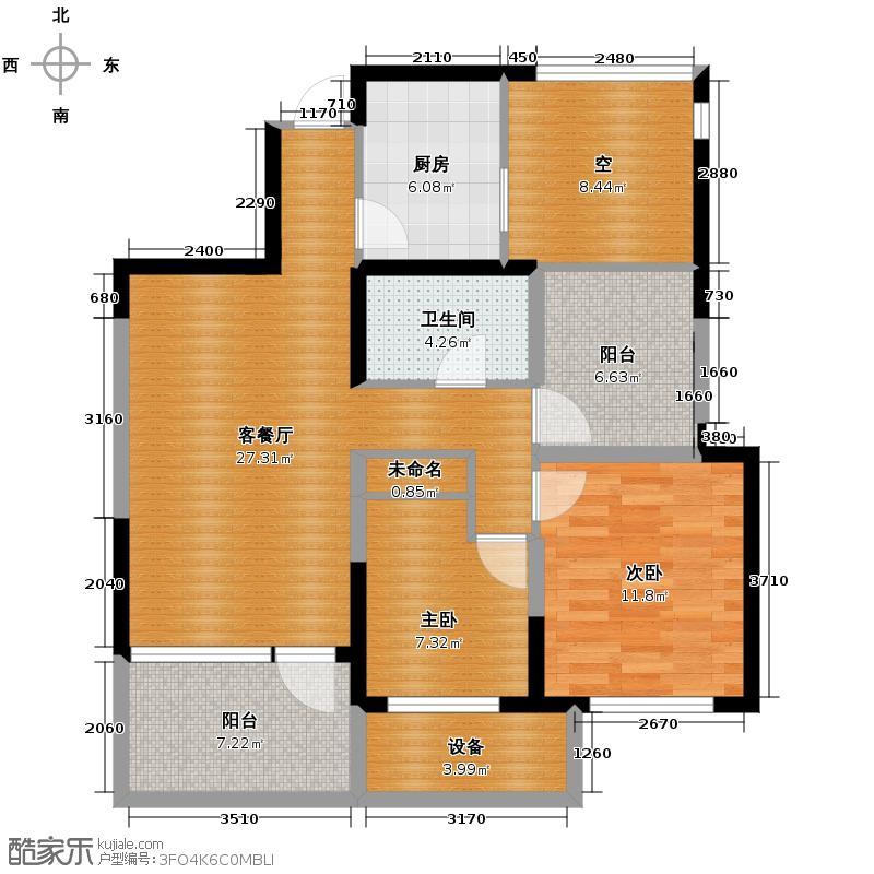 金帝海珀89.40㎡一期3号楼A2奇数层户型2室2厅1卫