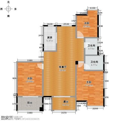 上东名筑3室1厅2卫1厨146.00㎡户型图