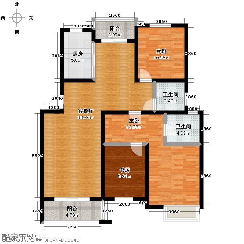 金世纪星运丽园114.96㎡户型3室1厅2卫1厨