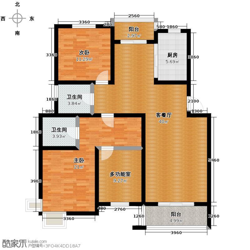 金世纪星运丽园118.96㎡户型2室1厅2卫1厨
