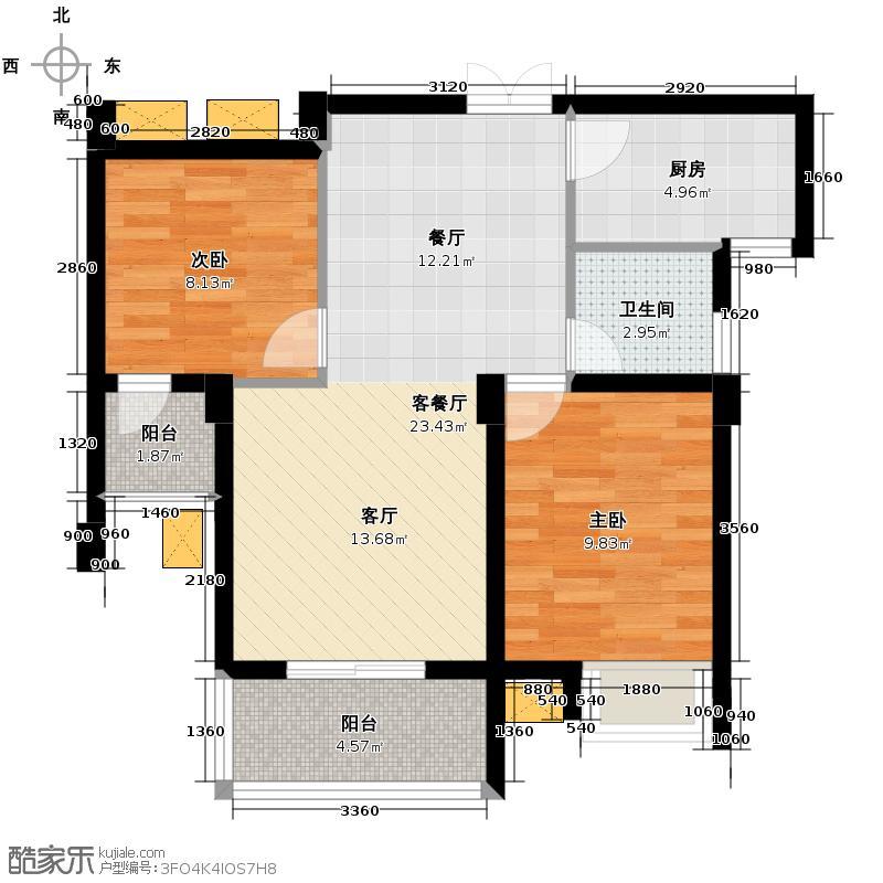 联合格里64.39㎡户型2室1厅1卫1厨