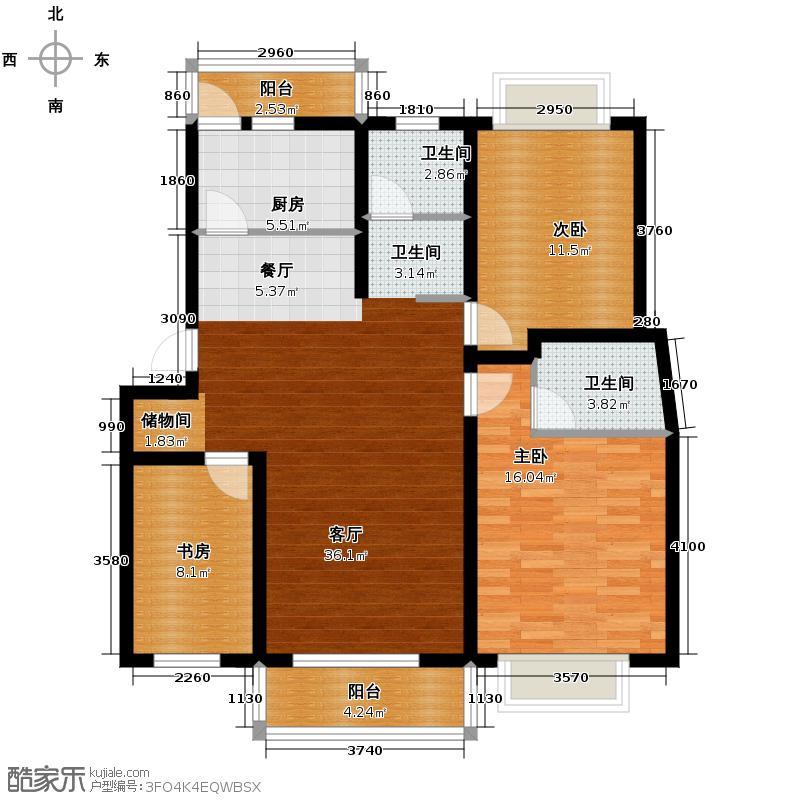 千岛碧水花园113.00㎡户型3室1厅2卫1厨