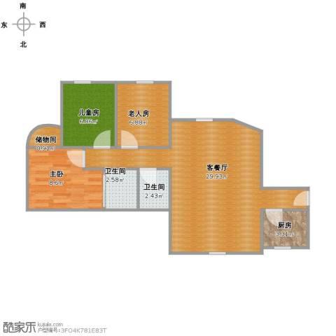 荔湾广场3室1厅2卫1厨84.00㎡户型图