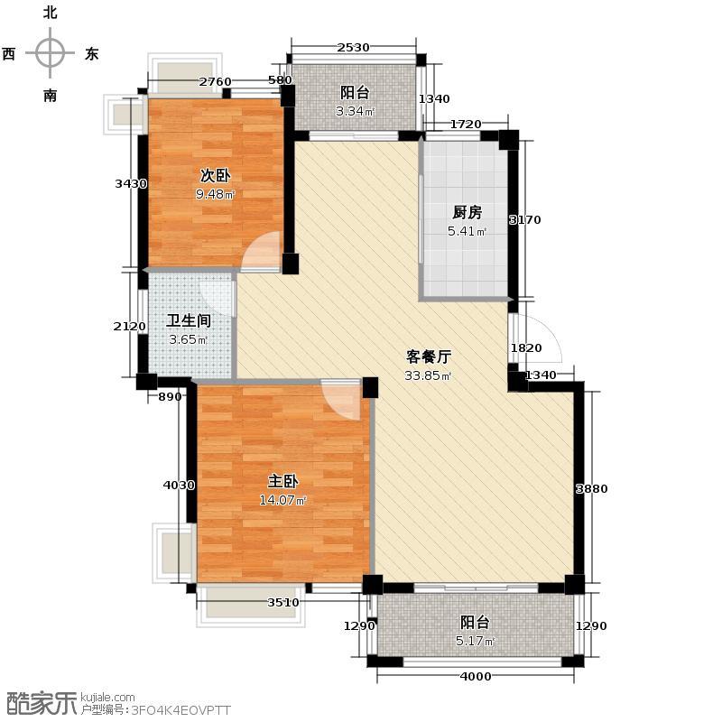 萧宏普罗旺斯83.17㎡户型2室1厅1卫1厨
