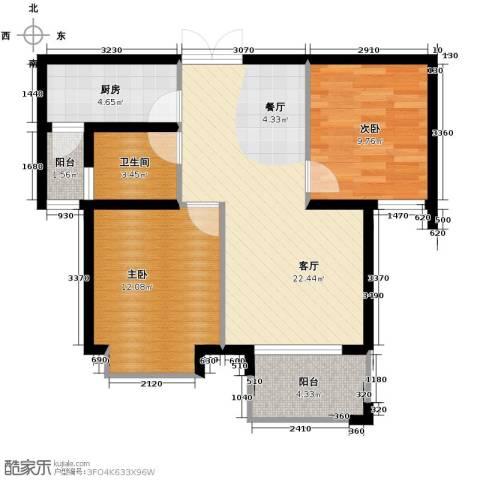上东领地2室1厅1卫1厨83.00㎡户型图