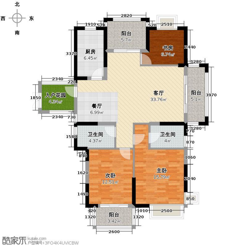 华门新西湖小镇135.00㎡A户型3室1厅2卫1厨