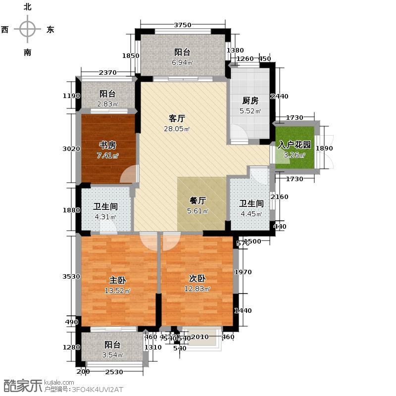 华门新西湖小镇121.00㎡C户型3室1厅2卫1厨
