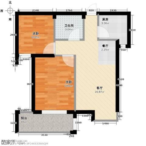 上东领地2室1厅1卫1厨63.00㎡户型图