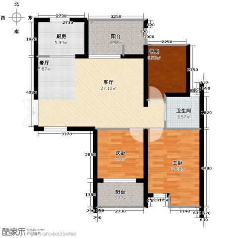 上东领地3室1厅1卫1厨104.00㎡户型图