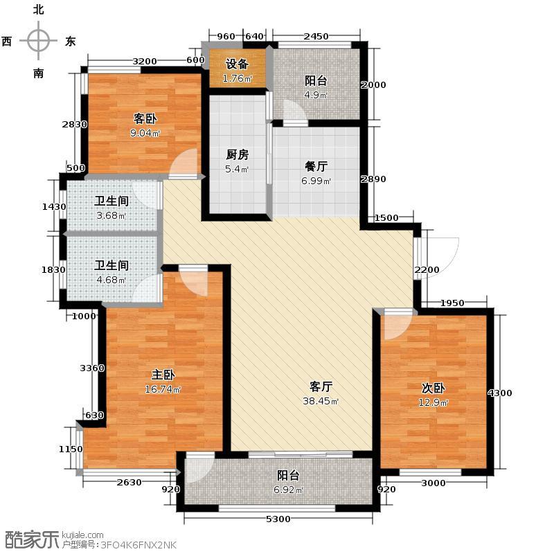 凯德龙湾138.00㎡澜A5户型3室2厅1卫