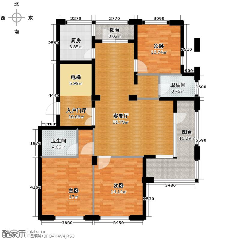 美好桂花金座138.00㎡K户型3室1厅2卫1厨