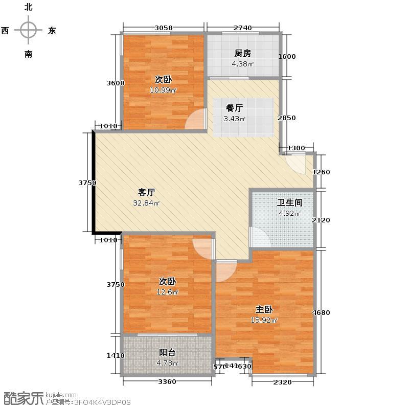 东海水景城102.00㎡户型3室1厅1卫1厨