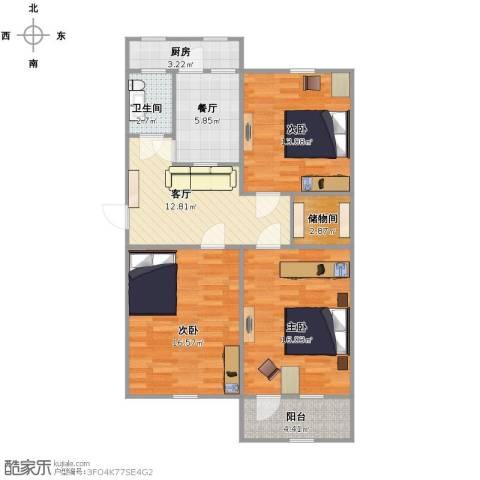建设路民政局宿舍3室2厅1卫1厨105.00㎡户型图