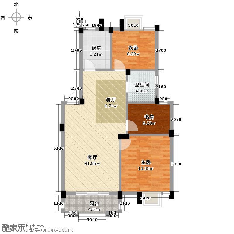 广和美地兰庭88.00㎡D户型3室1厅1卫1厨