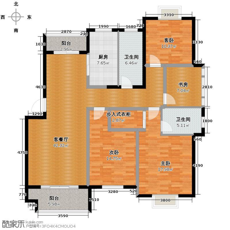 帝凯帝景园139.14㎡A4户型4室1厅2卫1厨