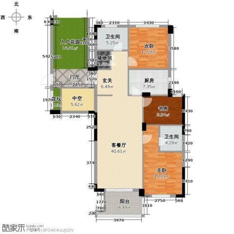 绿城玉兰花园3室1厅2卫1厨134.00㎡户型图