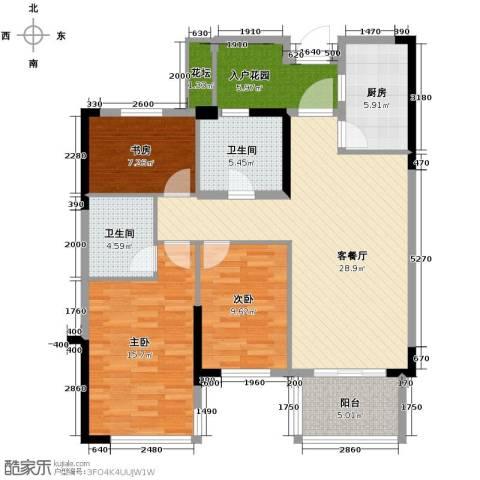 绿城玉兰花园3室1厅2卫1厨107.00㎡户型图