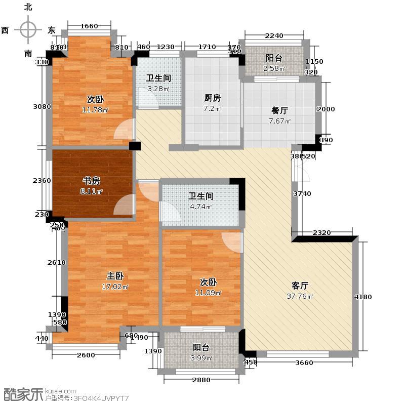 景丽华庭128.00㎡二期小高层4号楼西边套F户型4室1厅2卫1厨