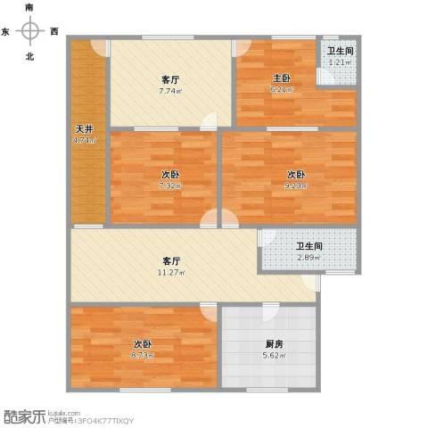 通河八村4室2厅2卫1厨90.00㎡户型图